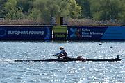Brandenburg. GERMANY. Finish line at the 2016 European Rowing Championships at the Regattastrecke Beetzsee<br /> <br /> Sunday  08/05/2016<br /> <br /> [Mandatory Credit; Peter SPURRIER/Intersport-images]