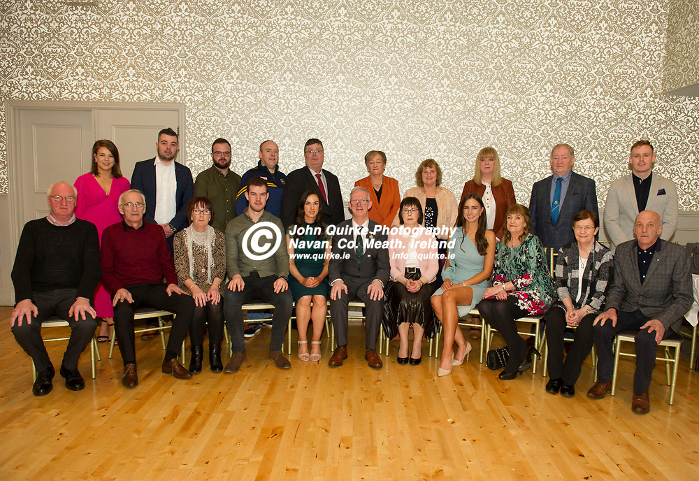 25-01-19. Leinster GAA Annual Convention 2018 at the Knightsbrook Hotel, Trim.<br /> Cathoirleach Pat Teehan his wife Frances and extended family members L to R.<br /> Back: Enya Mulcahy, Eoin Kennedy, Tommy Teehan, John Teehan, Pascal McEvoy, Joan Teehan, Lilly Teehan, Claire Teehan, Brian Aherne, Aaron Nugent.<br /> Front: Noel Teehan, John Teehan, Mary McEvoy, Gerard Teehan, Eimear Teehan, Pat and Frances Teehan. Sarah Teehan, Joan Aherne, Ann Scanlon and Tom Teehan.<br /> Photo: John Quirke / www.quirke.ie<br /> ©John Quirke Photography, Unit 17, Blackcastle Shopping Cte. Navan. Co. Meath. 046-9079044 / 087-2579454.