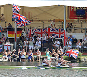 Lucerne, Switzerland. GBR M2X-, pass by the GB supporters after winning there semi-final to go through to Sundays final men's double sculls, Matt WELLS and Marcus BATEMAN. FISA World Cup. Lake Rotsee, Lucerne.  13:55:51   Saturday  10/07/2010.  [Mandatory Credit Peter Spurrier/ Intersport Images]
