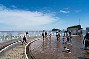 fountain at Umikaze park, Yokosuka with Tokyo Bay and Sarushima Island