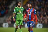 Jason Puncheon of Crystal Palace (r) and Yann M'Vila of Sunderland look on. Barclays Premier league match, Crystal Palace v Sunderland at Selhurst Park in London on Monday 23rd November 2015.<br /> pic by John Patrick Fletcher, Andrew Orchard sports photography.