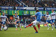 Portsmouth Forward, Brett Pitman (8) scores a penalty to make it 2-0 during the EFL Sky Bet League 1 match between Portsmouth and Rochdale at Fratton Park, Portsmouth, England on 13 April 2019.