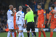 RED CARD Ethan Hamilton is sent off during the EFL Sky Bet League 1 match between Luton Town and Rochdale at Kenilworth Road, Luton, England on 2 March 2019.