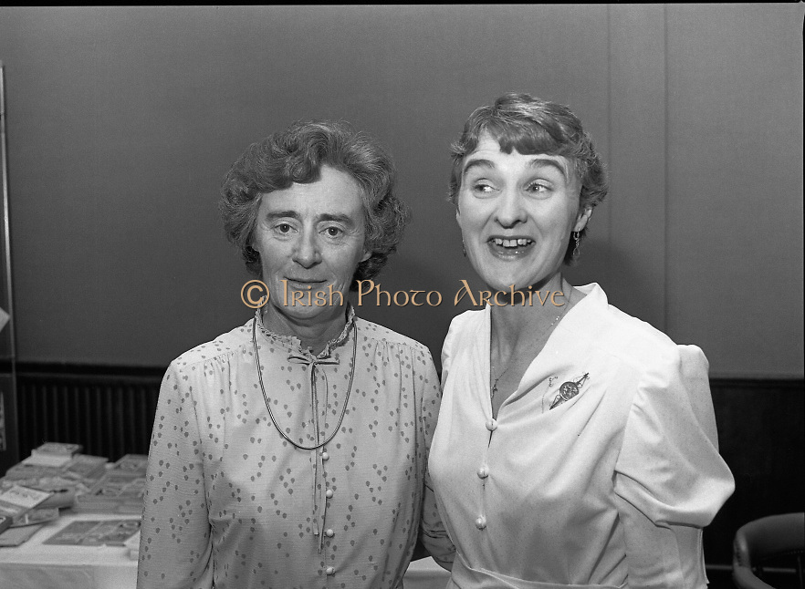 """""""The National Fish Cookery Award""""..29.04.1982..04.29.1982.29th April 1982.1982..This competition sponsored by Bord Iascaigh Mhara was held in The Clare Inn, Newmarket-on Fergus,Co Clare. the competition was open to schools across the country..(L-R) Miss Maureen O'Brien and Mrs Teresa Collins, Domestic Science Teachers,Vocational School,Ennis,Clare, where the competition was held."""