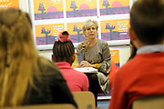 Hare Koninklijke Hoogheid Prinses Laurentien der Nederlanden leest voor tijdens Het Nationale Voorleesontbijt op basisschool De Windroos in Amersfoort. Het Voorleesontbijt is de start van De Nationale Voorleesdagen.<br /> Het Prentenboek van het Jaar 2012 'Mama kwijt' van Ierse illustrator Chris Haughton staat centraal tijdens De Voorleesdagen.<br /> <br /> Her Royal Highness Princess Laurentien of the Netherlands is reading a book during the National Reading Aloud Breakfast in the compass school in Amersfoort. Read it for breakfast is the start of The Book of Days.<br /> The Picturebook of the Year 2012 'Mama lost' by Irish illustrator Chris Haughton is central during the reading days