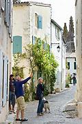 Typical street scene quaint houses traditional architecture, tourists, St Martin de Re, Ile de Re, France