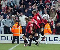 Photo: Kevin Poolman.<br />AFC Bournemouth v Brentford. Coca Cola League 1. 06/05/2006. Bournemouth players celebrate Steve Fletcher's goal.