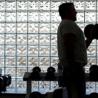 (DAYIN) Freehold Twp 1/9/2003  Joe LaPietro a junior at Freehold Twp H.S. and a football player on the school team lifts weights  in the fitness room of the high school  Michael J. Treola Staff Photographer.......MJT