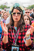 Damon Albarn introduces and plays with the Orchestra of Syrian Musicians on the Pyramid Stage - The 2016 Glastonbury Festival, Worthy Farm, Glastonbury.