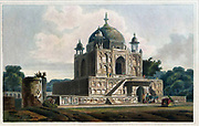 Musoleum of Sultan Purveiz, near Allahabad The remains of Sultan Purveiz, the son of the Emperor Jehangire, were here deposited about the year 1626.' The identification of the tomb is actually uncertain and it is now believed to be that of his sister Nithar Begum (d. 1624/5). It is a building of typical Mughal style, a cube crowned by a dome on a terrace, with many wall niches, slender portals in the middle of each side and slim chhatris or pavilions. In the main building is only a cenotaph; the entrance at the lower level leads to the actual tomb of the princess. From the book ' Oriental scenery: one hundred and fifty views of the architecture, antiquities and landscape scenery of Hindoostan ' by Thomas Daniell, and William Daniell, Published in London by the Authors January 1, 1812