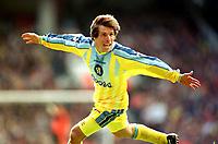Fotball<br /> England<br /> Foto: Colorsport/Digitalsport<br /> NORWAY ONLY<br /> <br /> Chelsea historikk<br /> Gianfranco Zola (Chelsea) ceklebrates his goal.(Chelsea's 2nd) Highbury FA Cup Semi Final.Chelsea v Wimbledon. 13/4/97.