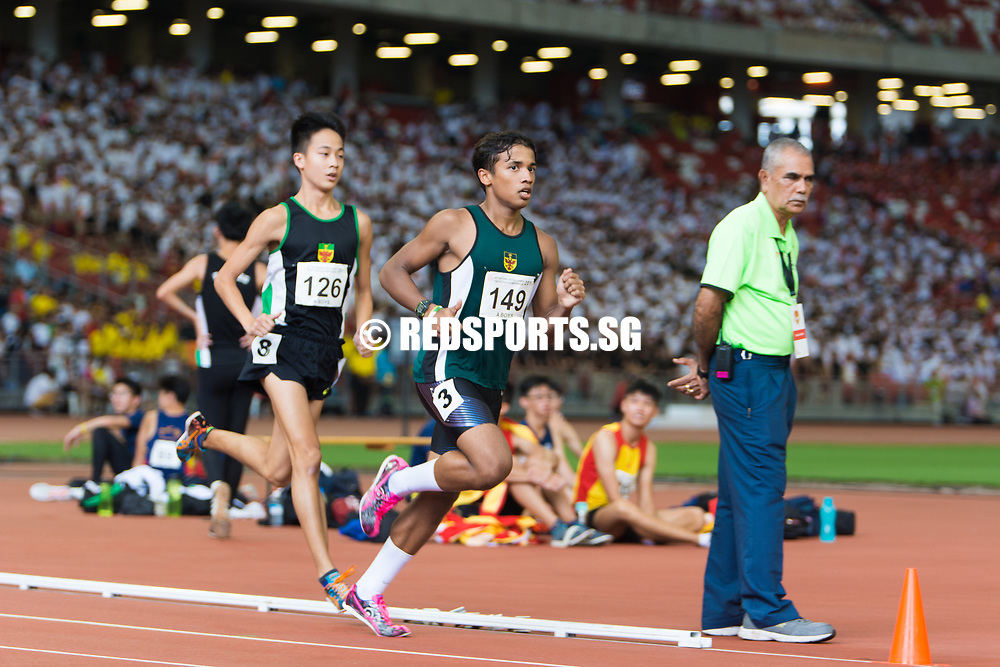 National Stadium, Friday, April 28, 2017 — After winning golds in the cross country and 5000 metres this year, Victoria Junior College's Syed Hussein Aljunied sealed his treble of distance titles with victory in the A Division boys' 1500m at the 58th National Schools Track and Field Championships. Story: https://www.redsports.sg/2017/05/03/syed-hussein-vjc-dave-tung-sji/