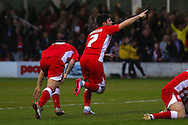 Piero Mingoia of Accrington Stanley FC celebrates putting Accrington 2-0 up during the Sky Bet League 2 play-off second leg match between Accrington Stanley and AFC Wimbledon at the Fraser Eagle Stadium, Accrington, England on 18 May 2016. Photo by Pete Burns.