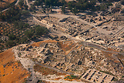 Aerial view of ancient Beit Shean, The Greek / Roman city of Scythopolis.