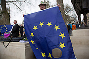 On the day that Article 50 was invoked to start the process of Brexit from the European Union, protesters gather in Westminster to show their displeasure that Britain will be leaving the EU, on March 29th 2017 in London, England, United Kingdom. One protester carrying the flag of Europe with a hole in the flag near to the Houses of Parliament.