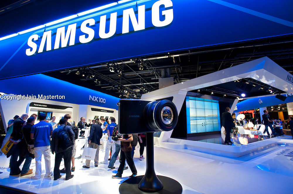Samsung display stand at Photokina digital imaging trade show in Cologne Germany 2010