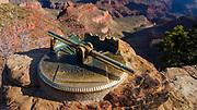 Historic scenic locator on the south rim, Grand Canyon National Park, Arizona USA