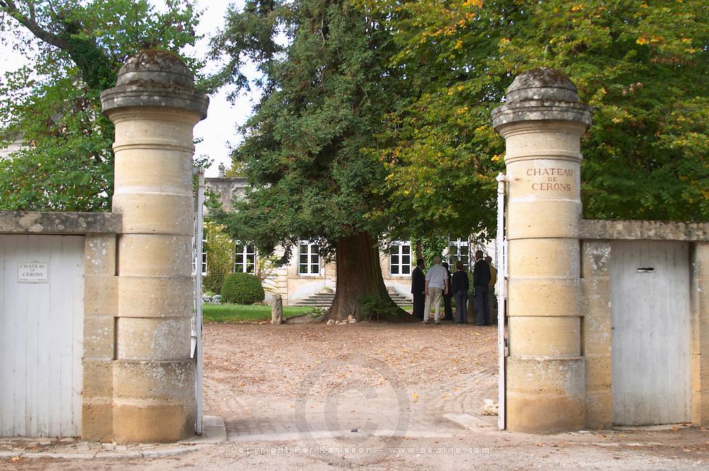 The gate posts and entrance to the chateau Chateau de Cerons (Cérons) Sauternes Gironde Aquitaine France
