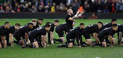 New Zealand's TJ Perenara leads the Haka during the Autumn International at the Principality Stadium, Cardiff.