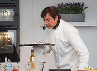 Jean-Christophe Novelli Multi-Michelin Star winning Chef during a live demonstration in The Celebrity Chef Cookery Theatre at The Festival of Food and Drink Clumber Park Worksop Nottingham 2021<br />   photo by Chris Waynne