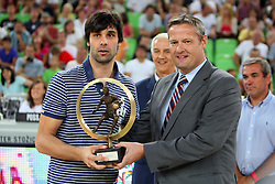 Milos Teodosic and Olafur Rafnsson at friendly match between Slovenia and Montenegro for Adecco Cup 2011 as part of exhibition games before European Championship Lithuania on August 7, 2011, in SRC Stozice, Ljubljana, Slovenia. (Photo by Urban Urbanc / Sportida)