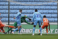 Coventry City midfielder Jordan Shipley (26) scores a goal from open play 1-0 during the EFL Sky Bet League 1 match between Coventry City and Shrewsbury Town at the Ricoh Arena, Coventry, England on 28 April 2019.