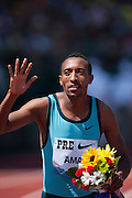 MOHAMMAD AMAN (ETH) won the Mens 800m with a time of 1:44:42 during the second day of the Diamond League event Prefontaine Classic held at the University of Oregons Hayward Field.The Prefontaine Classic is named for University of Oregon track legend Steve Prefontaine.