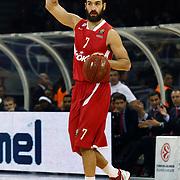 Olympiacos's Vassilis Spanoulis during their Turkish Airlines Euroleague Basketball Top 16 Game 9 match Besiktas between Olympiacos Piraeus at Abdi ipekci Arena in Istanbul, Turkey, thursday, February 28, 2013. Photo by Aykut AKICI/TURKPIX