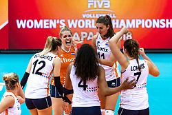 16-10-2018 JPN: World Championship Volleyball Women day 17, Nagoya<br /> Netherlands - China 1-3 / Britt Bongaerts #12 of Netherlands, Kirsten Knip #1 of Netherlands, Anne Buijs #11 of Netherlands
