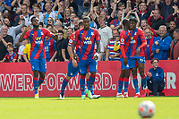 Football - 2021/2022  Premier League - Crystal Palace vs Tottenham Hotspur - Selhurst Park  - Saturday 11th September 2021.<br /> <br /> Odsonne Eduord (Crystal Palace) celebrates with the fans after scoring on his debut at Selhurst Park.<br /> <br /> COLORSPORT/DANIEL BEARHAM