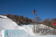Katie Ormerod during the FIS Jamboree snowboard Slopestyle practice on 10th February 2017 in Stoneham Mountain, Canada. The Canadian Jamboree is part of the ski and snowboard FIS World Cup circuit held in Quebec City and Stoneham Mountain.