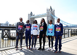 Kenya's Gladys Cherono, Vivian Cheruiyot, Mary Keitany, Ethiopia's Tirunesh Dibaba, Tigist Tufa and Bahraini's Rose Chelimo poses during the media day at Tower Hotel London.