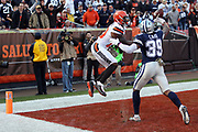 Cleveland Browns rookie wide receiver Corey Coleman (19) jumps and tries to catch an end zone pass broken up by Dallas Cowboys cornerback Brandon Carr (39) during the 2016 NFL week 9 regular season football game against the Dallas Cowboys on Sunday, Nov. 6, 2016 in Cleveland. The Cowboys won the game 35-10. (©Paul Anthony Spinelli)