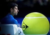 Tennis - 2019 Nitto ATP Finals at The O2 - Day One<br /> <br /> Singles Group Bjorn Borg: Novak Djokovic vs. Matteo Berrettini<br /> <br /> Novak Djokovic (Serbia) sits behind the large Dunlop logo tennis ball <br /> <br /> COLORSPORT/DANIEL BEARHAM