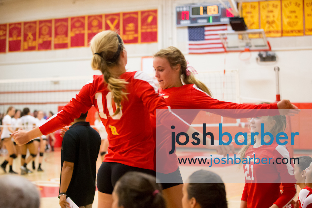 Morgan Kendrick, Kimberly Cameron during a non-league girl's volleyball match between the Canyon Comanches and Rosary Royals at Rosary Academy on Thursday, September 17, 2015 in Fullerton, California.