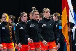 (L-R) Debbie Bont of Netherlands, Laura van der Heijden of Netherlands, Jessy Kramer of Netherlands, Danick Snelder of Netherlands before the Women's EHF Euro 2020 match between Netherlands and Germany at Sydbank Arena on december 14, 2020 in Kolding, Denmark (Photo by RHF Agency/Ronald Hoogendoorn)