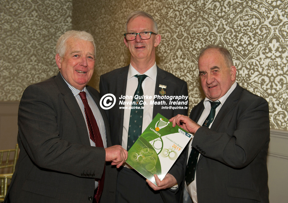 25-01-19. Leinster GAA Annual Convention 2018 at the Knightsbrook Hotel, Trim.<br /> Cathoirleach Pat Teehan (Centre) pictured with Tom Farrell and Pat Lynagh, Westmeath.<br /> Photo: John Quirke / www.quirke.ie<br /> ©John Quirke Photography, Unit 17, Blackcastle Shopping Cte. Navan. Co. Meath. 046-9079044 / 087-2579454.