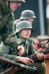Reeactor portraying a soldier from Infantry Regiment Grossdeutschland with the German Mauser K98.21 April  2013.Image © Paul David Drabble