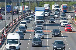 © Licensed to London News Pictures 30/04/2021. Dartford, UK. The A282 Dartford crossing approach road in Kent is already getting busy today. Motorists have been warned to expected delays on the road this May Bank holiday weekend as a total of 14 million getaway journeys are possible after a poll by the RAC. Saturday could be the busiest day on the roads in years due to coronavirus lockdown easing. Photo credit:Grant Falvey/LNP