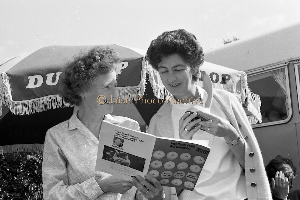 Mrs L. O'Sullivan and Mrs M.J. Lardner who were in charge of telecommunications at the Irish Dunlop £1,000 Tournament at Tramore Golf Club, Co. Waterford on the 19th August 1967.