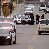 Gallup Police block off Third Street in Gallup after a nearby explosion Wednesday.