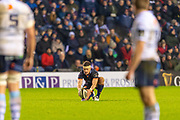 Simon Hickey (#10) of Edinburgh Rugby lines up a kick during the Guinness Pro 14 2019_20 match between Edinburgh Rugby and Cardiff Blues at BT Murrayfield Stadium, Edinburgh, Scotland on 28 February 2020.