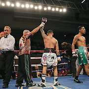 """Orlando """"El Fenomeno""""  Cruz raises his arm at the conclusion of his match against  Gabino """"Flash"""" Cota during their Boxeo Telemundo WBO/NABO Super Featherweight bout on Friday, October 9, 2015 at the Kissimmee Civic Center in Kissimmee, Florida. Cruz, who is from Puerto Rico, is the first ever openly gay boxer  in the history of the sport and won the bout by unanimous decision.  (Alex Menendez via AP)"""