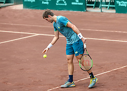 April 13, 2018 - Houston, TX, U.S. - HOUSTON, TX - APRIL 13:  Guido Pella of Argentina prepares to serve in the match against Tennys Sandgren of the United States  during the Quarterfinal round of the Men's Clay Court Championship on April 13, 2018 at River Oaks Country Club in Houston, Texas.  (Photo by Leslie Plaza Johnson/Icon Sportswire) (Credit Image: © Leslie Plaza Johnson/Icon SMI via ZUMA Press)
