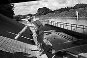 Melle, Belgium, 1 sept 2017, Renovation of the bridge over the river Scheldt near Melle