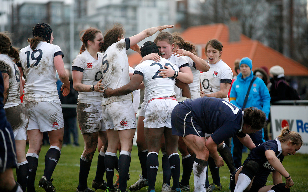 England celebrate a try scored by Maggie Alphonsi. Scotland Women v England Women in the Six Nations 2014 at Rubislaw, Aberdeen, Scotland on Sunday 9th February 2014, kick off 1400