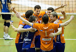 Players of ACH celebrate during volleyball match between ACH Volley   and Salonit Anhovo in Final of Slovenian Cup 2014/15, on January 17, 2015 in Sempeter, Slovenia. Photo by Vid Ponikvar / Sportida