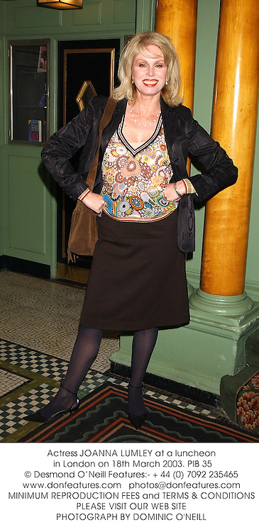 Actress JOANNA LUMLEY at a luncheon in London on 18th March 2003.PIB 35