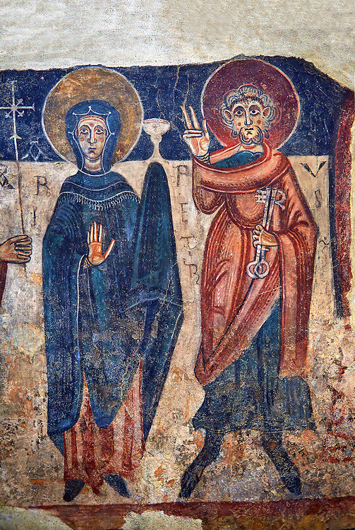 Romanesque frescoes of the Virgin Mary and Peter from the church of Sant Roma de les Bons, painted around 1164, Encamp, Andorra. National Art Museum of Catalonia, Barcelona. MNAC 15783 .<br /> <br /> If you prefer you can also buy from our ALAMY PHOTO LIBRARY  Collection visit : https://www.alamy.com/portfolio/paul-williams-funkystock/romanesque-art-antiquities.html<br /> Type -     MNAC     - into the LOWER SEARCH WITHIN GALLERY box. Refine search by adding background colour, place, subject etc<br /> <br /> Visit our ROMANESQUE ART PHOTO COLLECTION for more   photos  to download or buy as prints https://funkystock.photoshelter.com/gallery-collection/Medieval-Romanesque-Art-Antiquities-Historic-Sites-Pictures-Images-of/C0000uYGQT94tY_Y