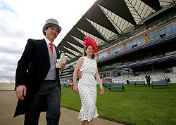 Racegoers arriving during day one of Royal Ascot at Ascot Racecourse.